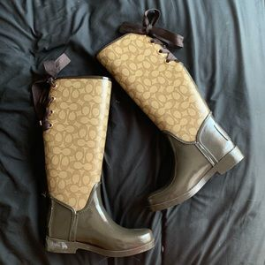 COACH 'Tristee' Brown/Tan Rain Boot - 6B